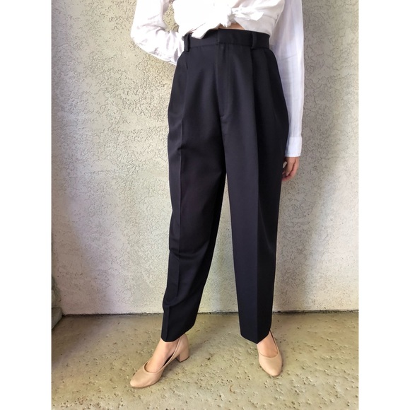 80s Brown Wool Trousers Vintage High Waisted Pleat Pants
